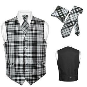 Men Plaid Vest NeckTie for Suit Tux